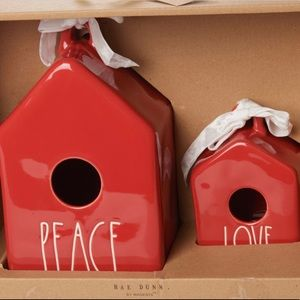 Rae Dunn Red Birdhouse Set Peace & Love NEW